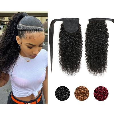 """10 - 30"""" Curly Wrap Around Ponytail Human Hair Extensions"""