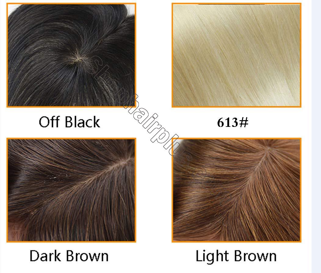 "100% Real Human Hair Crown Topper Hair Pieces for Women with Thinning Hair, 6"" x 6.7"" Silk Top Hair Toppers with Clip on 6"