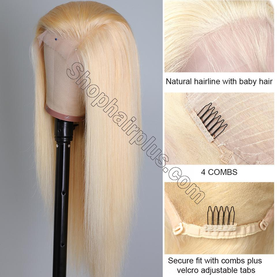 10A Straight Blonde 613 360 Lace & Full Lace Human Hair Wig Invisible Lace Front Wigs Bleach Knots 150%/180% Densit 2