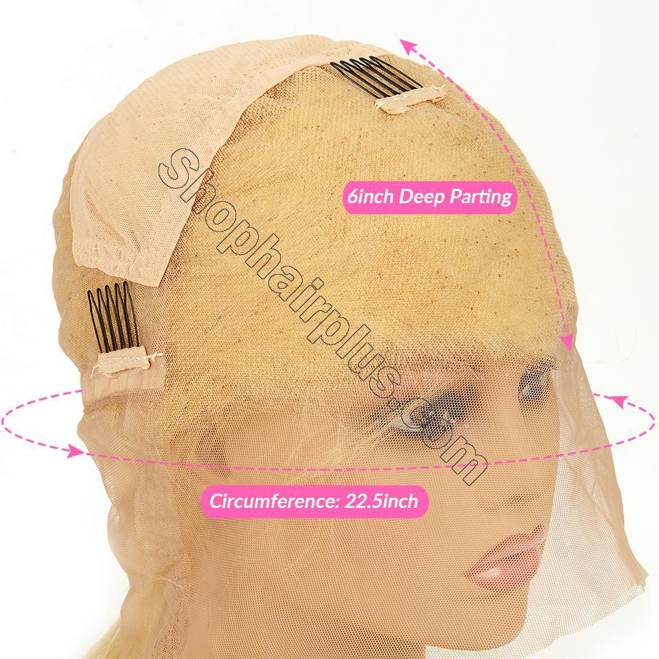 10A Straight Blonde 613 360 Lace & Full Lace Human Hair Wig Invisible Lace Front Wigs Bleach Knots 150%/180% Densit 4