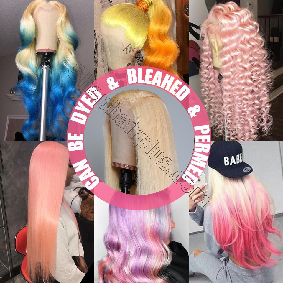 10A Straight Blonde 613 360 Lace & Full Lace Human Hair Wig Invisible Lace Front Wigs Bleach Knots 150%/180% Densit 7