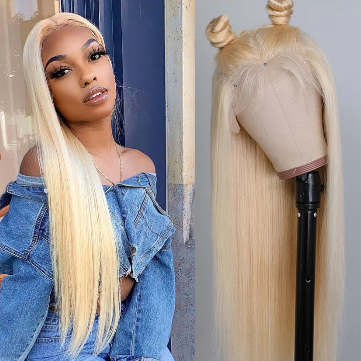 10A Straight Blonde 613 360 Lace & Full Lace Human Hair Wig Invisible Lace Front Wigs Bleach Knots 150%/180% Densit 10
