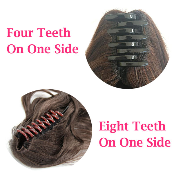 12 - 32 Inch Human Hair Piece Ponytail Extension Drawstring on a Claw Clip Attachment Natural Looking for Women Loose Wave #1B 2
