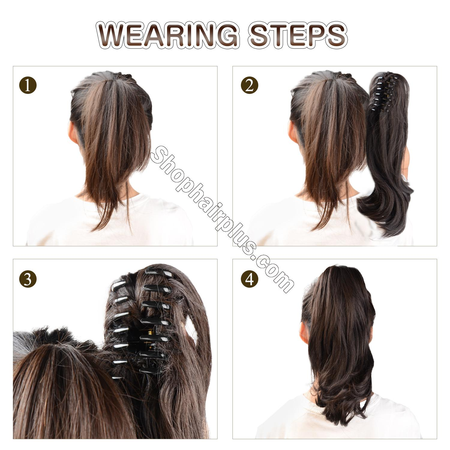 12 - 32 Inch Human Hair Piece Ponytail Extension Drawstring on a Claw Clip Attachment Natural Looking for Women Loose Wave #1B 3