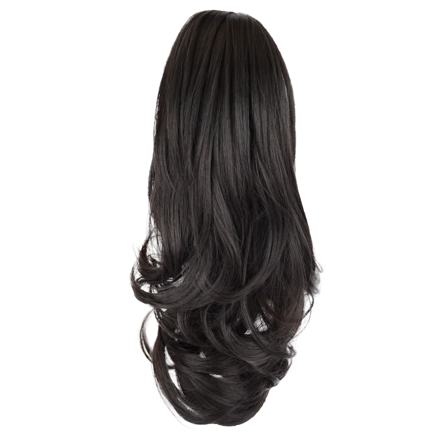 12 - 32 Inch Human Hair Piece Ponytail Extension Drawstring on a Claw Clip Attachment Natural Looking for Women Loose Wave #1B 5
