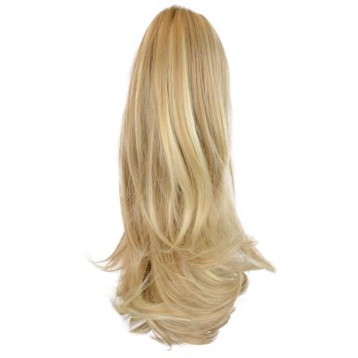 12 - 32 Inch Human Hair Piece Ponytail Extension Drawstring on a Claw Clip Attachment Natural Looking for Women Loose Wave #24/613