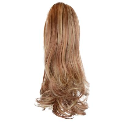 12 - 32 Inch Human Hair Piece Ponytail Extension Drawstring on a Claw Clip Attachment Natural Looking for Women Loose Wave #28/613