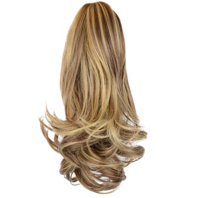 12 - 32 Inch Human Hair Piece Ponytail Extension Drawstring on a Claw Clip Attachment Natural Looking for Women Loose Wave #8/613