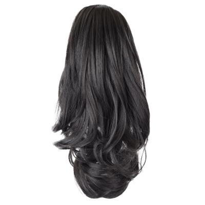 12 - 32 Inch Human Hair Piece Ponytail Extension Drawstring on a Claw Clip Attachment Natural Looking for Women Loose Wave Off Black #1