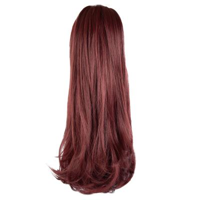 12 - 32 Inch Human Hair Piece Ponytail Extension Drawstring on a Claw Clip Attachment Natural Looking for Women Loose Wave Wine-Red
