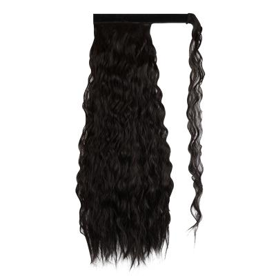 14 - 32 Inch Long Black Wrap Around Ponytail Extension Clip in Hair Extension for White Black Women Loose Deep Wave #1B