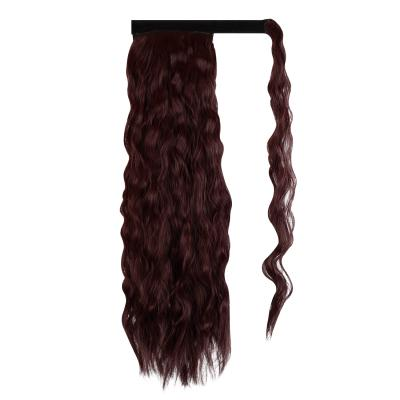 14 - 32 Inch Long Wrap Around Ponytail Extension Clip in Hair Extension for White Black Women Loose Deep Wave #99J