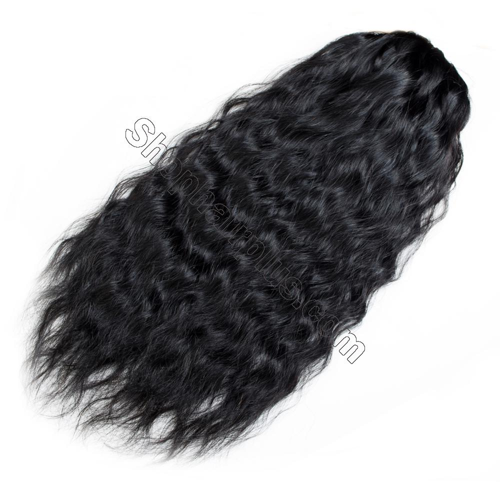 "14 - 32"" Natural Wave Drawstring Ponytail Human Hair Extensions 3"