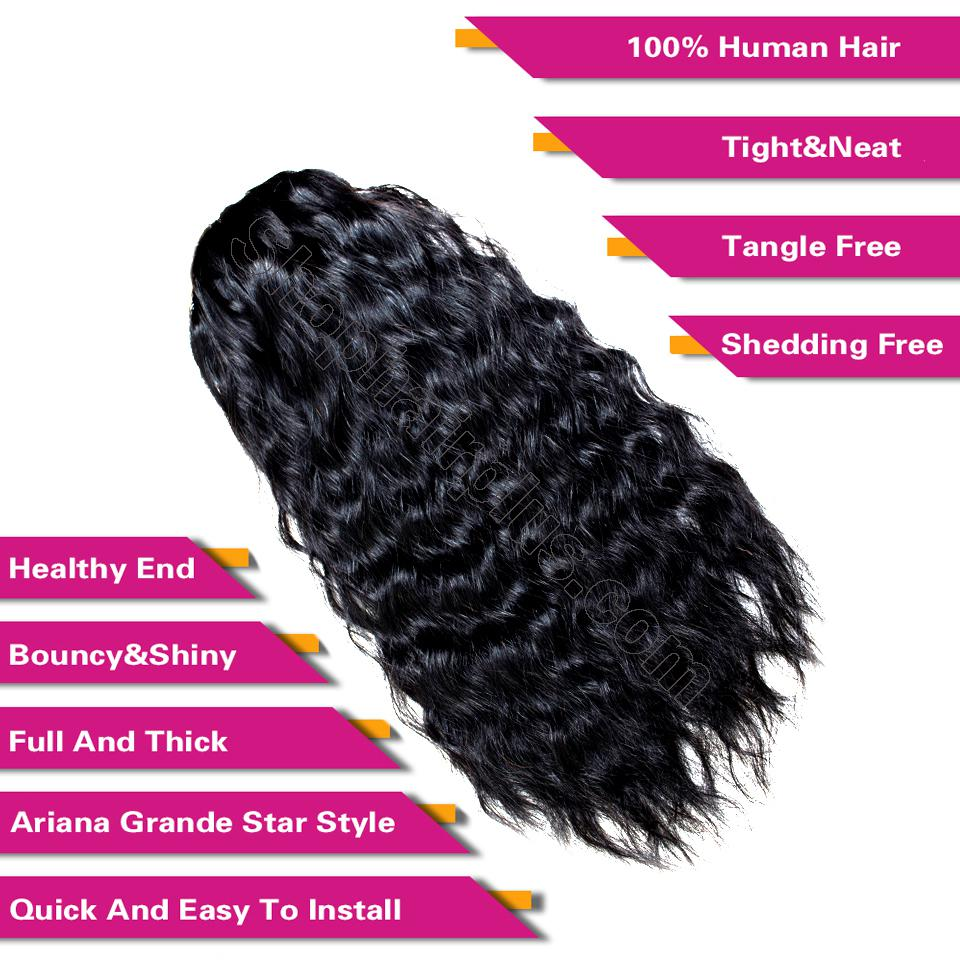 "14 - 32"" Natural Wave Drawstring Ponytail Human Hair Extensions 4"