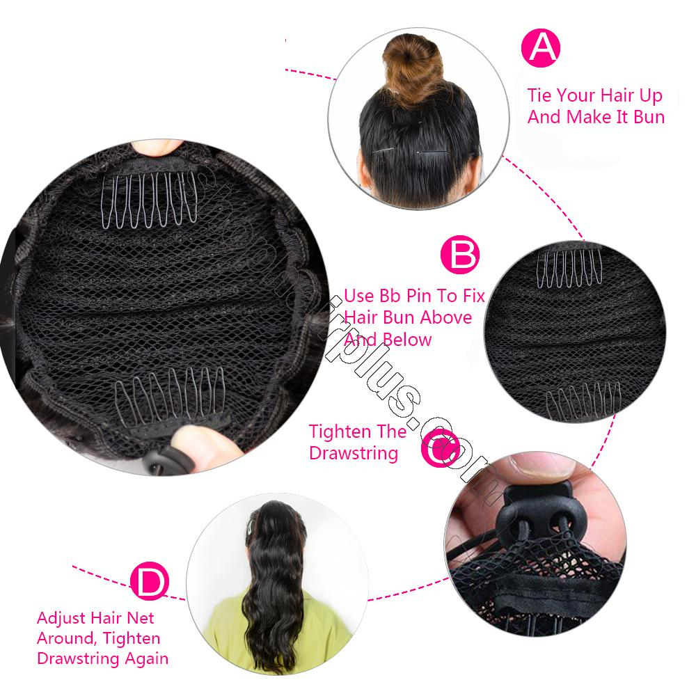"14 - 32"" Natural Wave Drawstring Ponytail Human Hair Extensions 5"