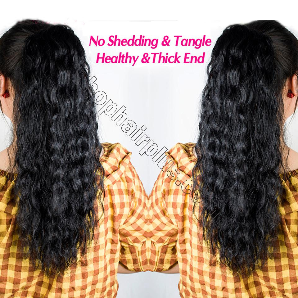 "14 - 32"" Natural Wave Drawstring Ponytail Human Hair Extensions 6"