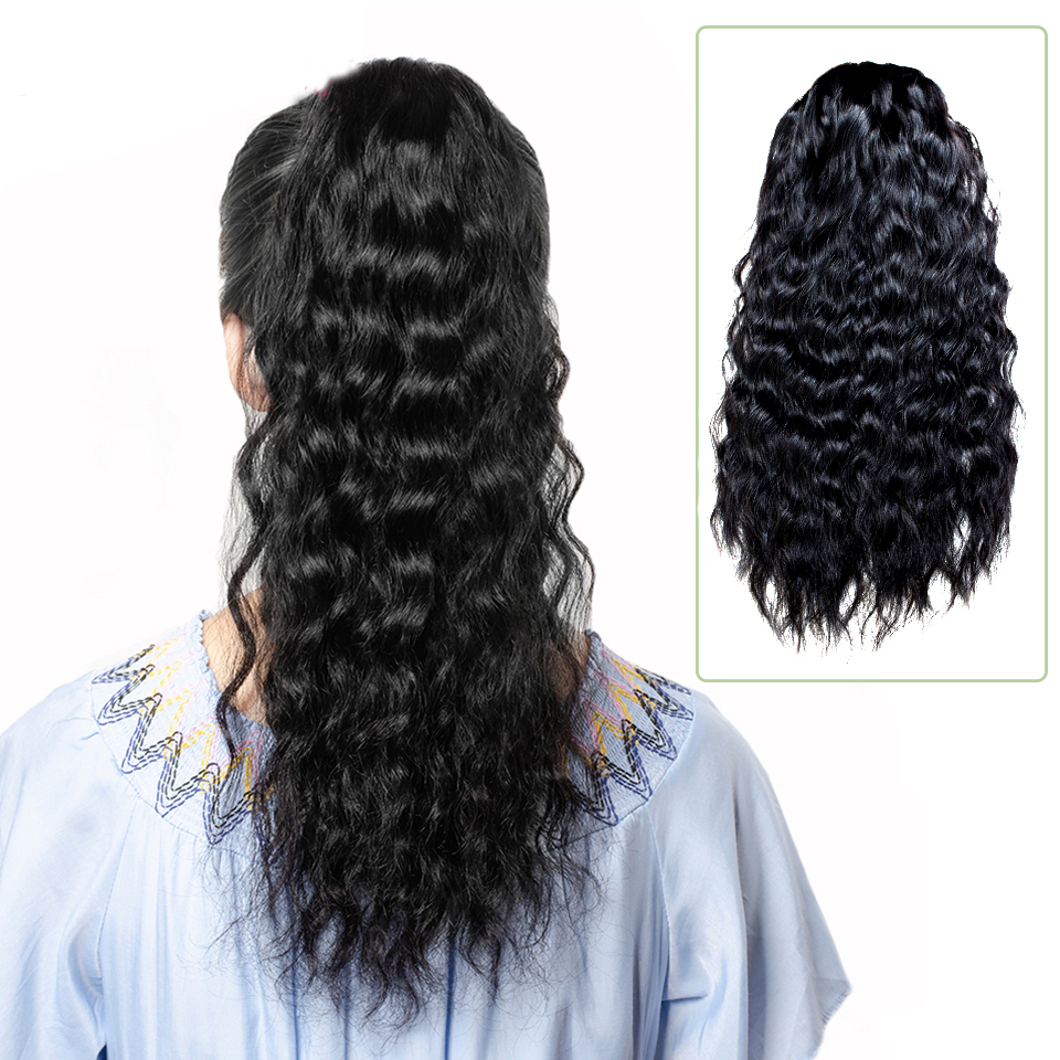 "14 - 32"" Natural Wave Drawstring Ponytail Human Hair Extensions 10"