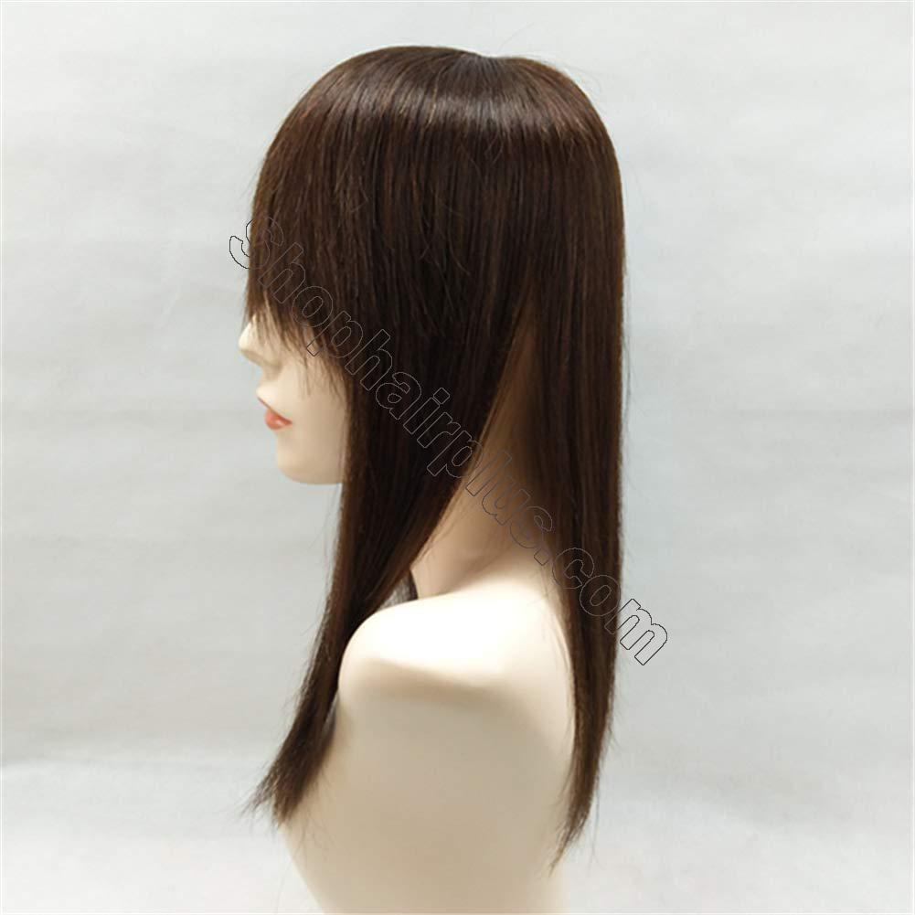 """18"""" Long Straight Human Hair Crown Topper with Bangs, Clip in Top Hairpieces for Women with Thinning Hair 2"""