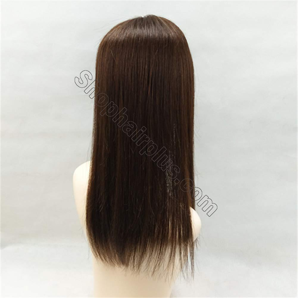 """18"""" Long Straight Human Hair Crown Topper with Bangs, Clip in Top Hairpieces for Women with Thinning Hair 3"""
