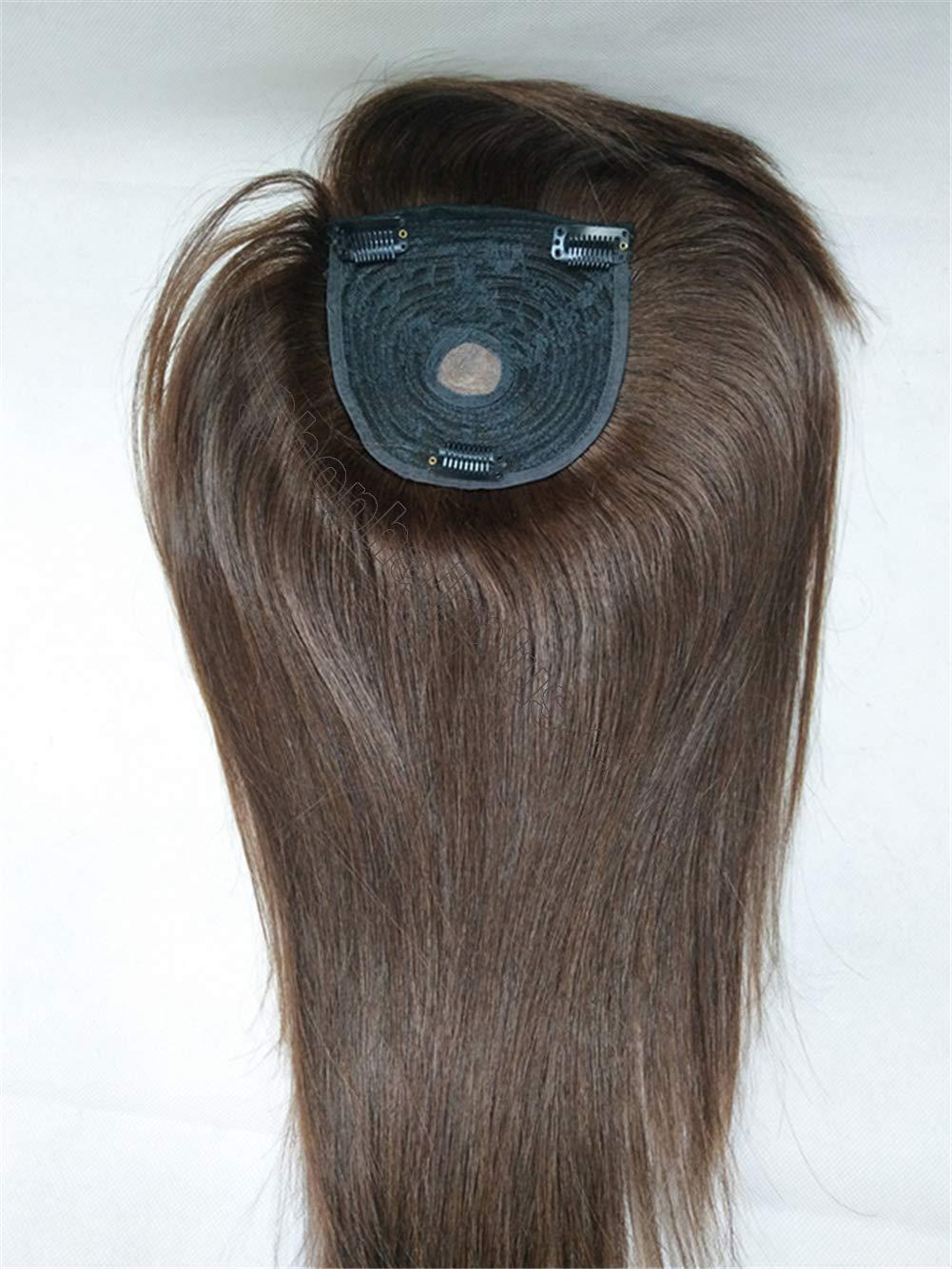 """18"""" Long Straight Human Hair Crown Topper with Bangs, Clip in Top Hairpieces for Women with Thinning Hair 4"""