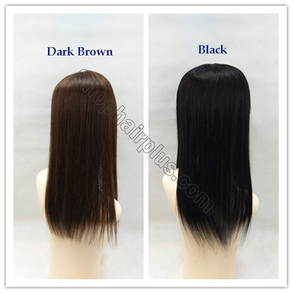 """18"""" Long Straight Human Hair Crown Topper with Bangs, Clip in Top Hairpieces for Women with Thinning Hair 5"""