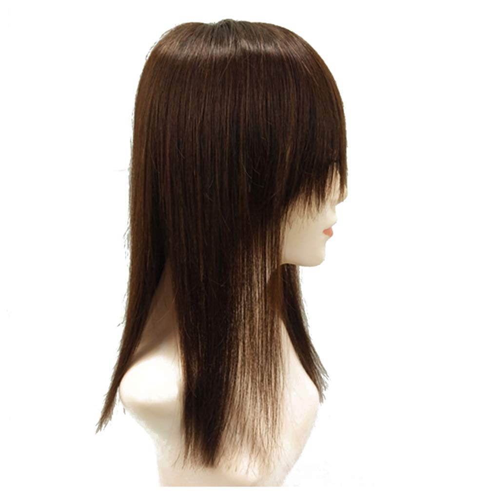 """18"""" Long Straight Human Hair Crown Topper with Bangs, Clip in Top Hairpieces for Women with Thinning Hair 7"""