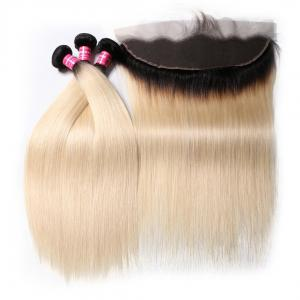 1B/613 Straight Ombre Hair 3 Bundles with 13*4 Frontal Closure, 2 Tone Color Human Hair Weave Extensions For Sale