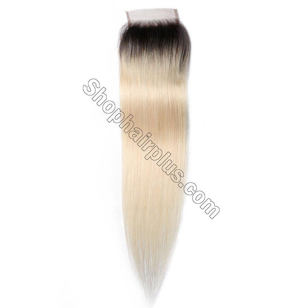 1B/613 T color 4*4 Straight Lace Closure on Deals 2