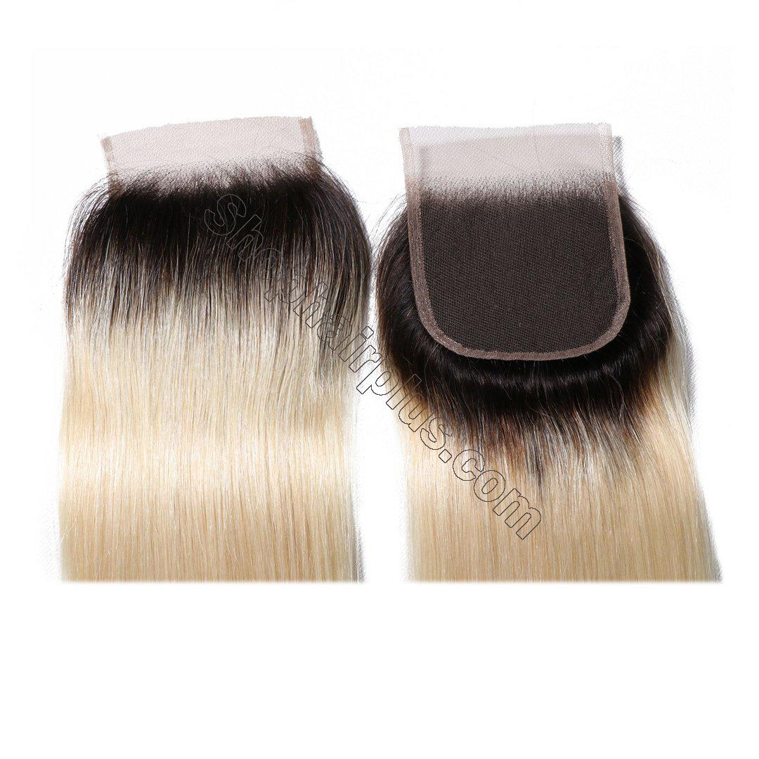 1B/613 T color 4*4 Straight Lace Closure on Deals 4