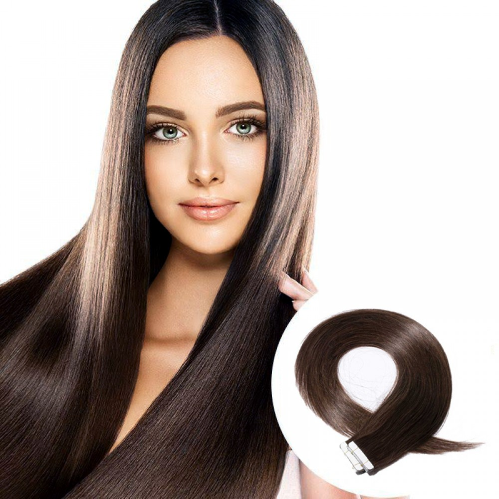 2.5g/s 20pcs Straight Tape In Hair Extensions #2 Dark Brown 8
