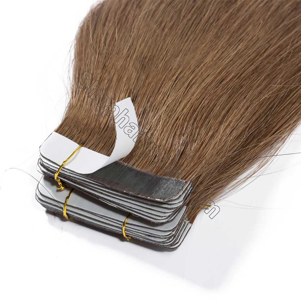2.5g/s 20pcs Straight Tape In Hair Extensions #6 Light Brown 3