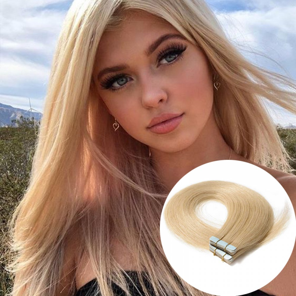 2.5g/s 20pcs Straight Tape In Hair Extensions #613 Bleach Blonde 7