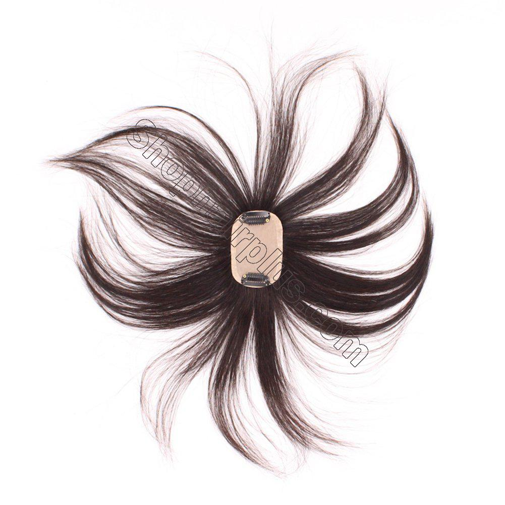 """2""""x3"""" Silk Base Human Hair Toppers Clip in Crown Wiglets Hairpieces for Women Remy Hair 2"""