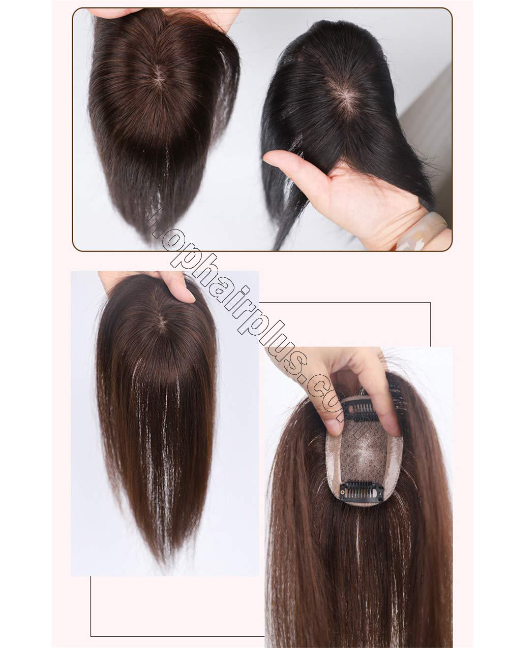 """2""""x3"""" Silk Base Human Hair Toppers Clip in Crown Wiglets Hairpieces for Women Remy Hair 3"""