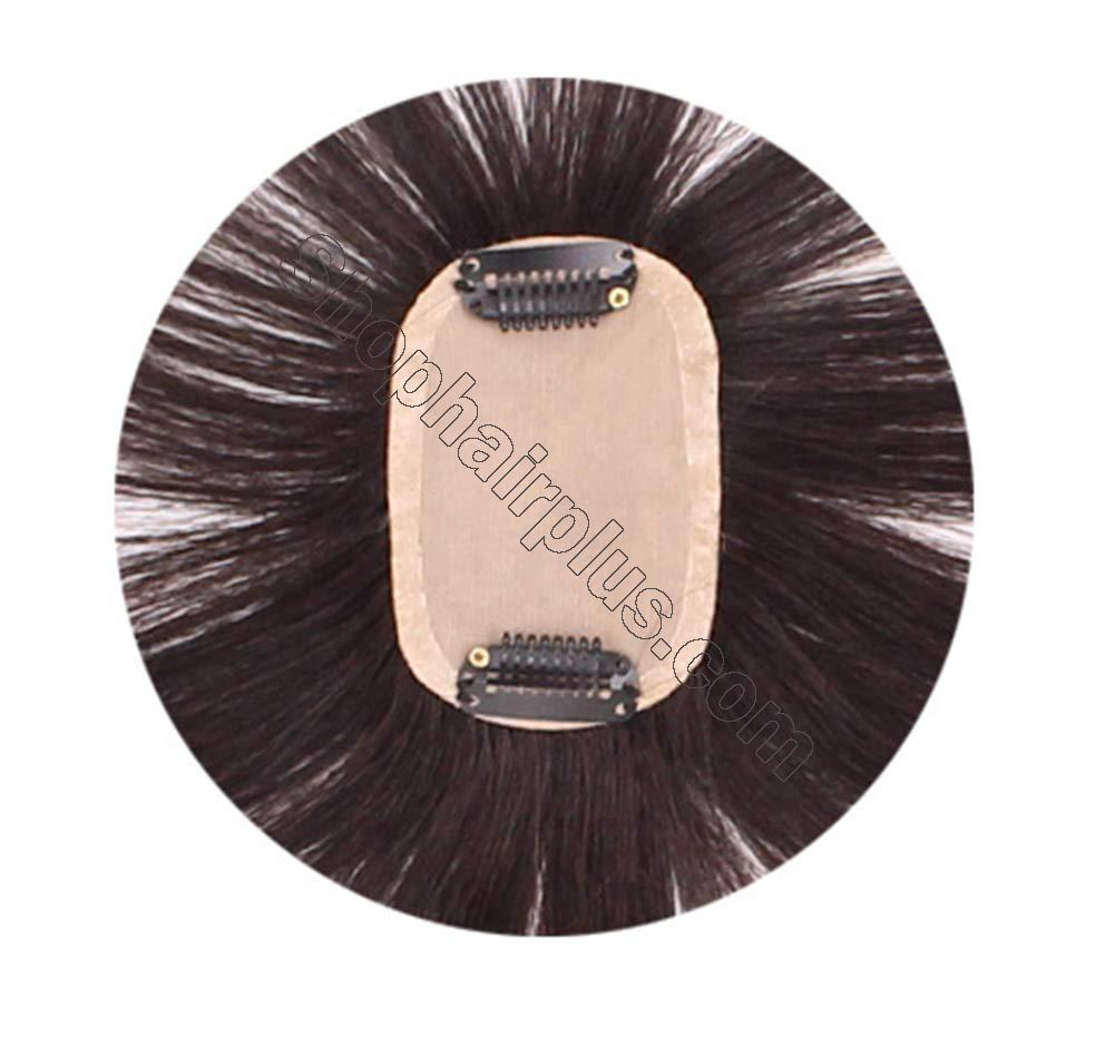 """2""""x3"""" Silk Base Human Hair Toppers Clip in Crown Wiglets Hairpieces for Women Remy Hair 4"""