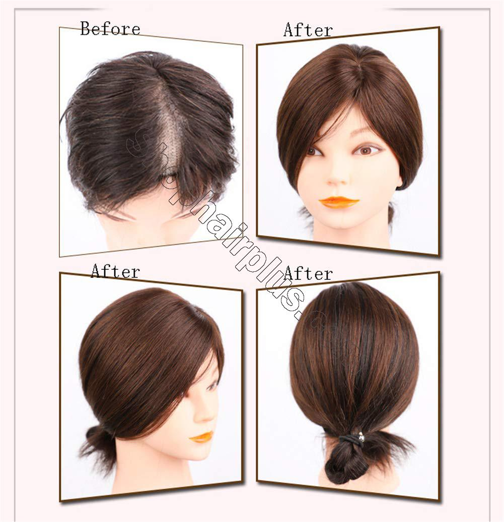 """2""""x3"""" Silk Base Human Hair Toppers Clip in Crown Wiglets Hairpieces for Women Remy Hair 6"""