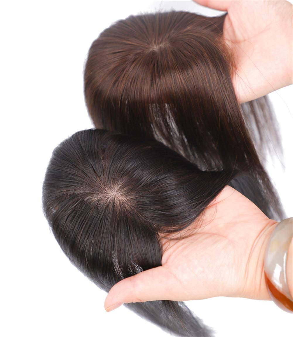"""2""""x3"""" Silk Base Human Hair Toppers Clip in Crown Wiglets Hairpieces for Women Remy Hair 9"""