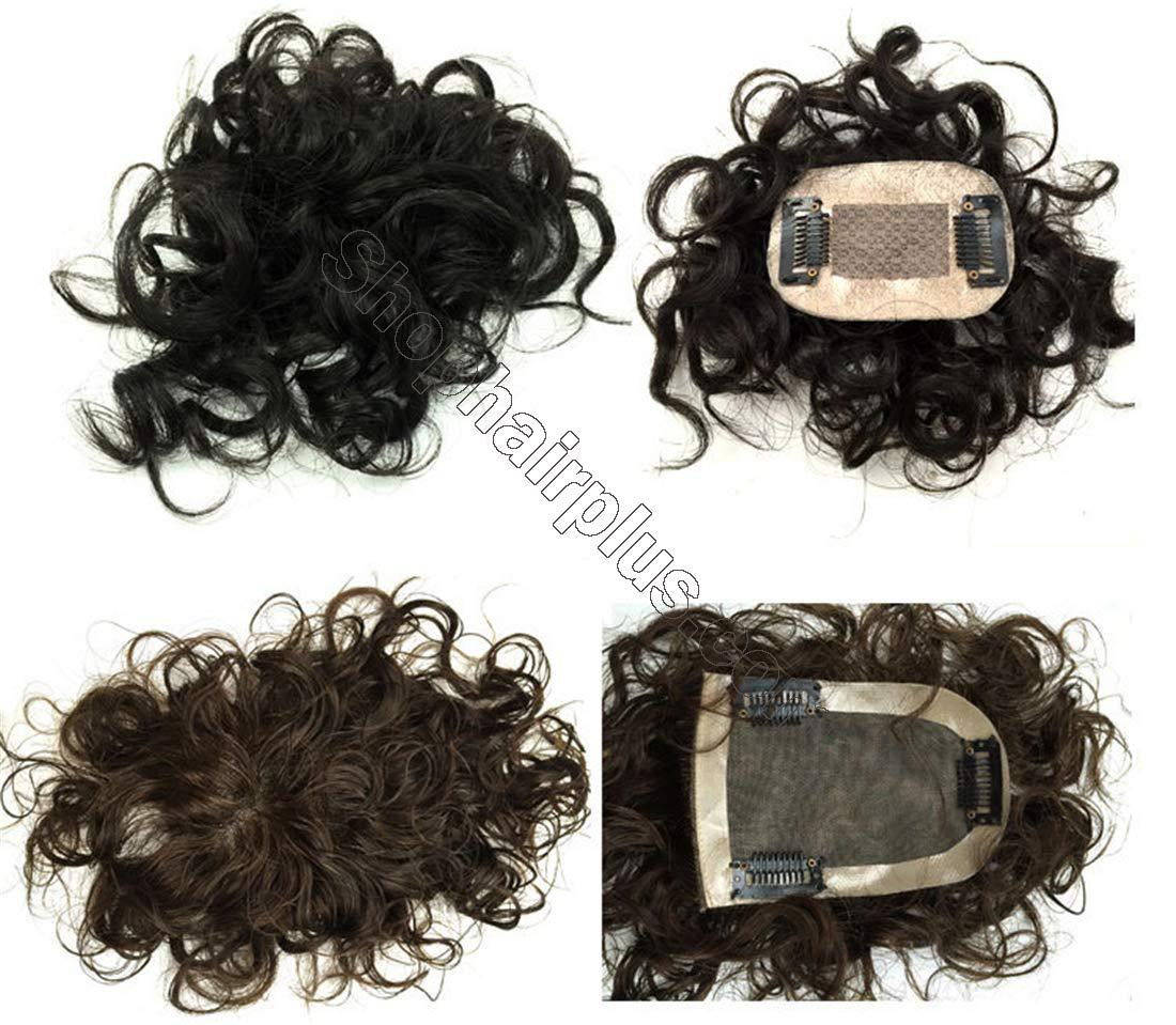 "2""x3"" Silk Top Curly Human Hair Toppers for Women with Crown Thinning Hair, 6"" Short Clip on Bang Wiglet Hair Pieces 2"