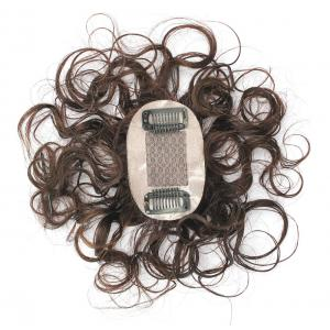 """2""""x3"""" Silk Top Curly Human Hair Toppers for Women with Crown Thinning Hair, 6"""" Short Clip on Bang Wiglet Hair Pieces"""