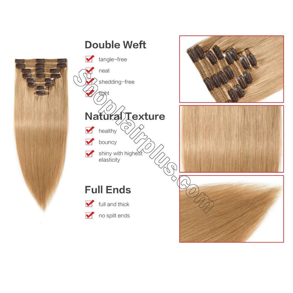 22Inch 8 Pcs Double Weft Straight Clip In Remy Hair Extensions #27 Dark Blonde 3
