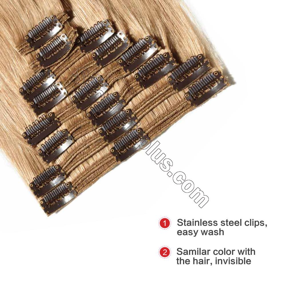 22Inch 8 Pcs Double Weft Straight Clip In Remy Hair Extensions #27 Dark Blonde 4