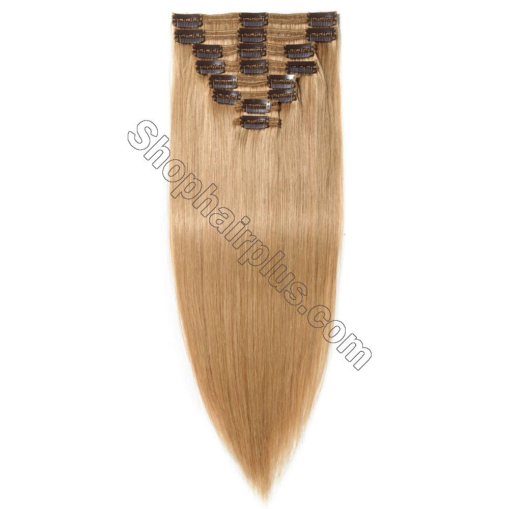 22Inch 8 Pcs Double Weft Straight Clip In Remy Hair Extensions #27 Dark Blonde 5