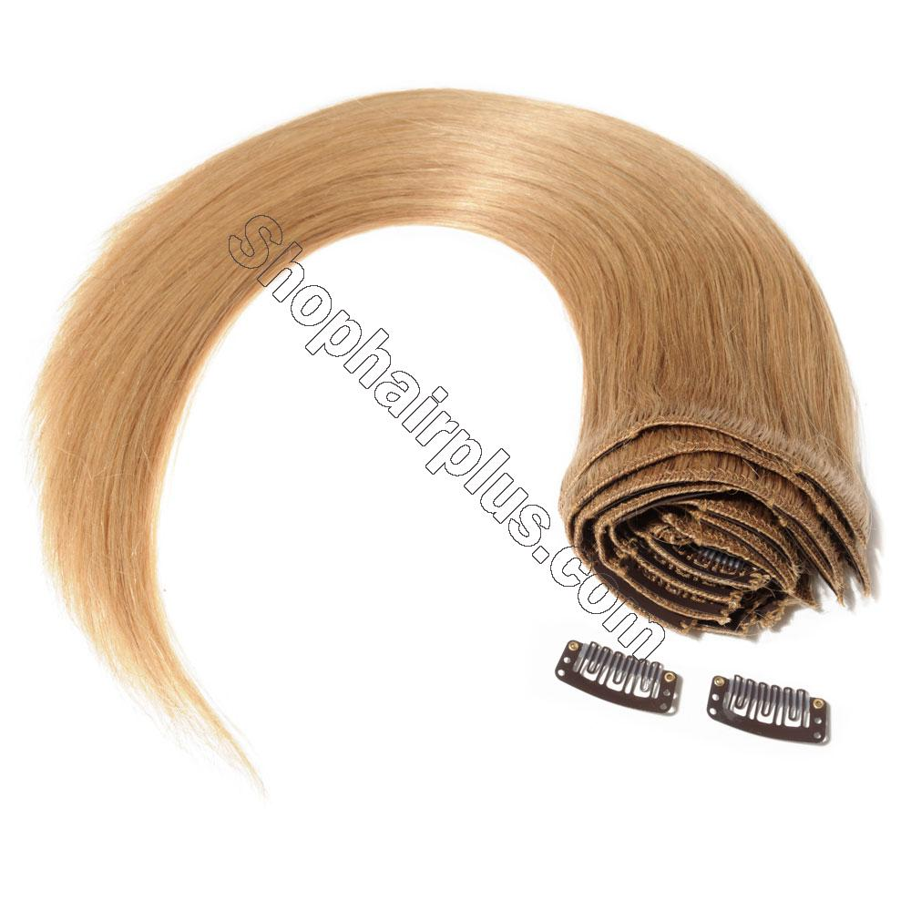 22Inch 8 Pcs Double Weft Straight Clip In Remy Hair Extensions #27 Dark Blonde 8