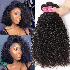 3 Bundles Peruvian Jerry Curly Virgin Human Hair Weave Natural Color