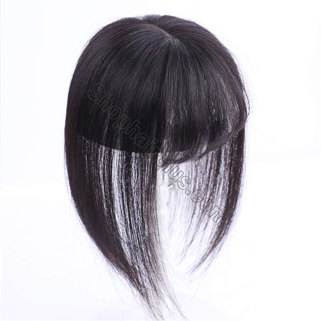 """3"""" x 4.3"""" Crown Topper Human Hair for Women with 3D Air Bangs, Clip in Hair Toppers for Thinning Hair 2"""
