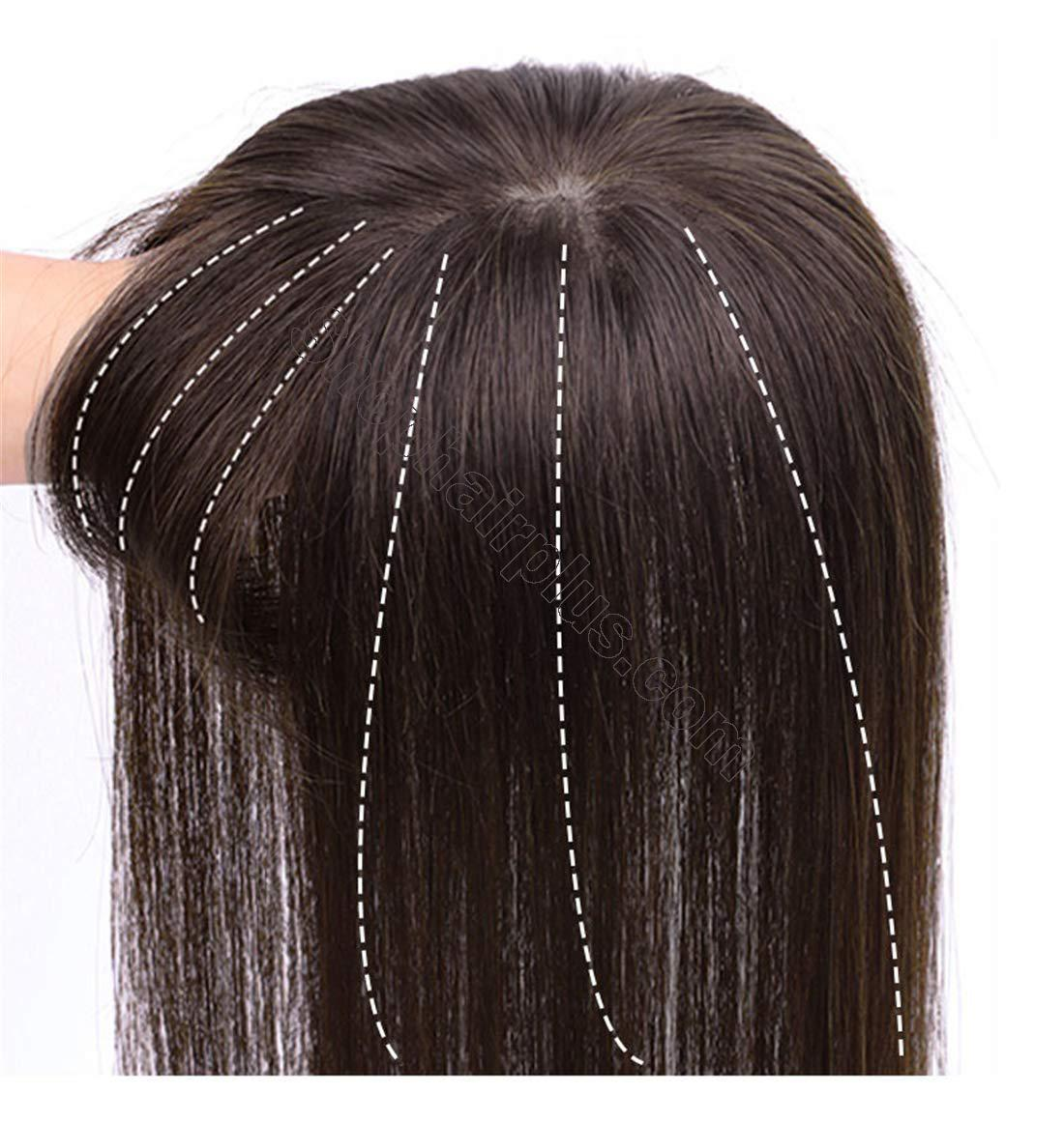 """3"""" x 4.3"""" Crown Topper Human Hair for Women with 3D Air Bangs, Clip in Hair Toppers for Thinning Hair 3"""