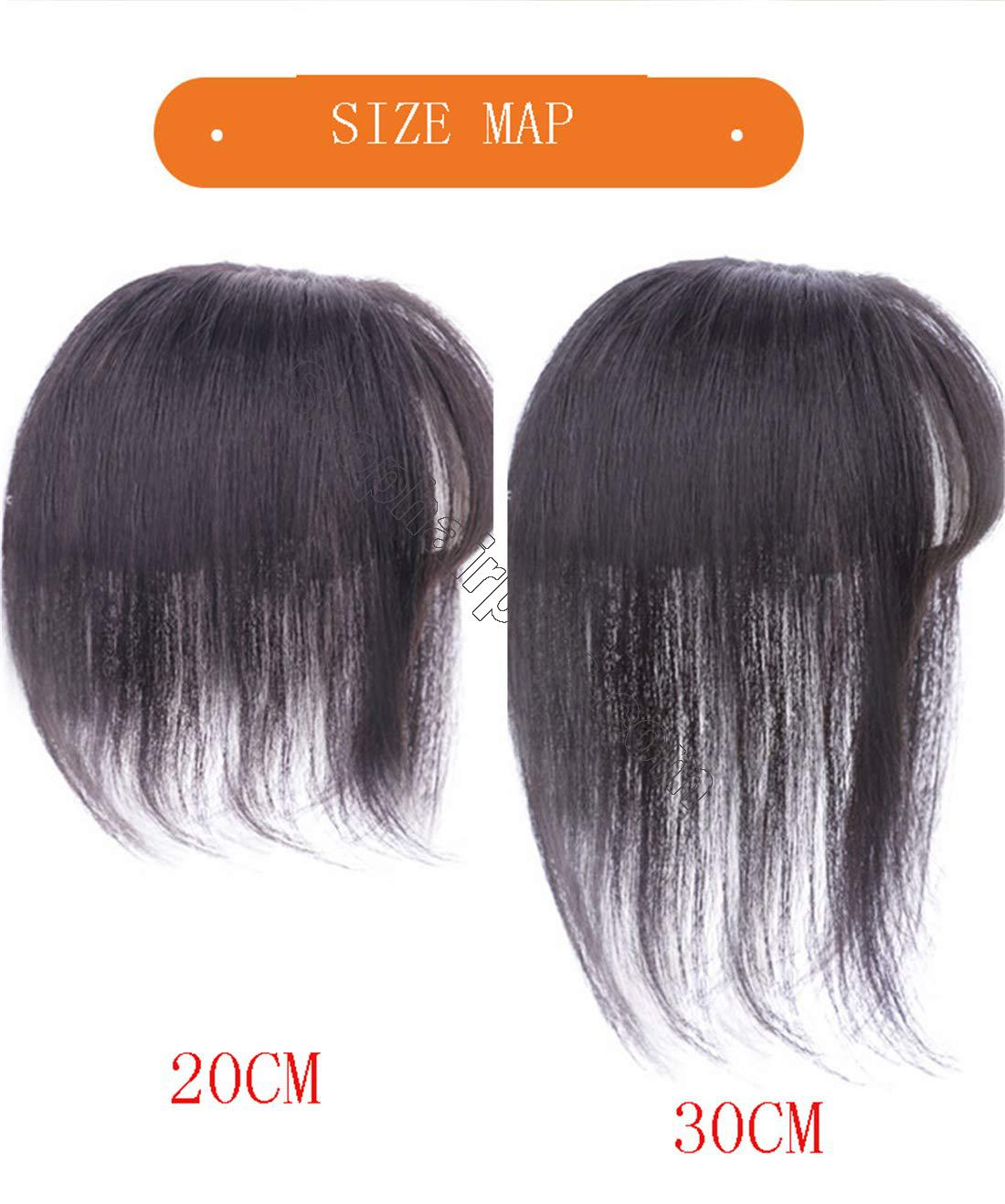 """3"""" x 4.3"""" Crown Topper Human Hair for Women with 3D Air Bangs, Clip in Hair Toppers for Thinning Hair 4"""