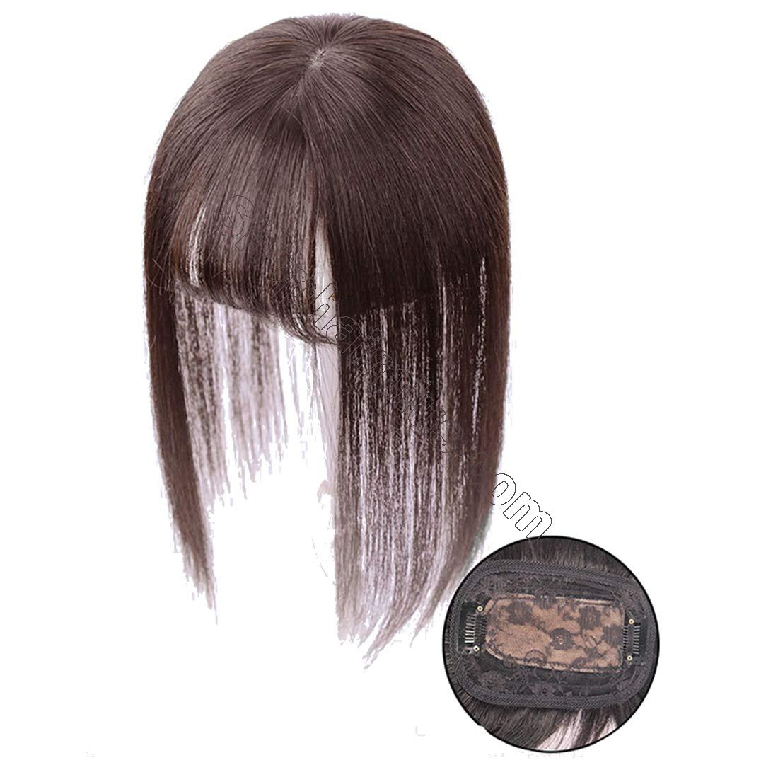 """3"""" x 4.3"""" Crown Topper Human Hair for Women with 3D Air Bangs, Clip in Hair Toppers for Thinning Hair 5"""