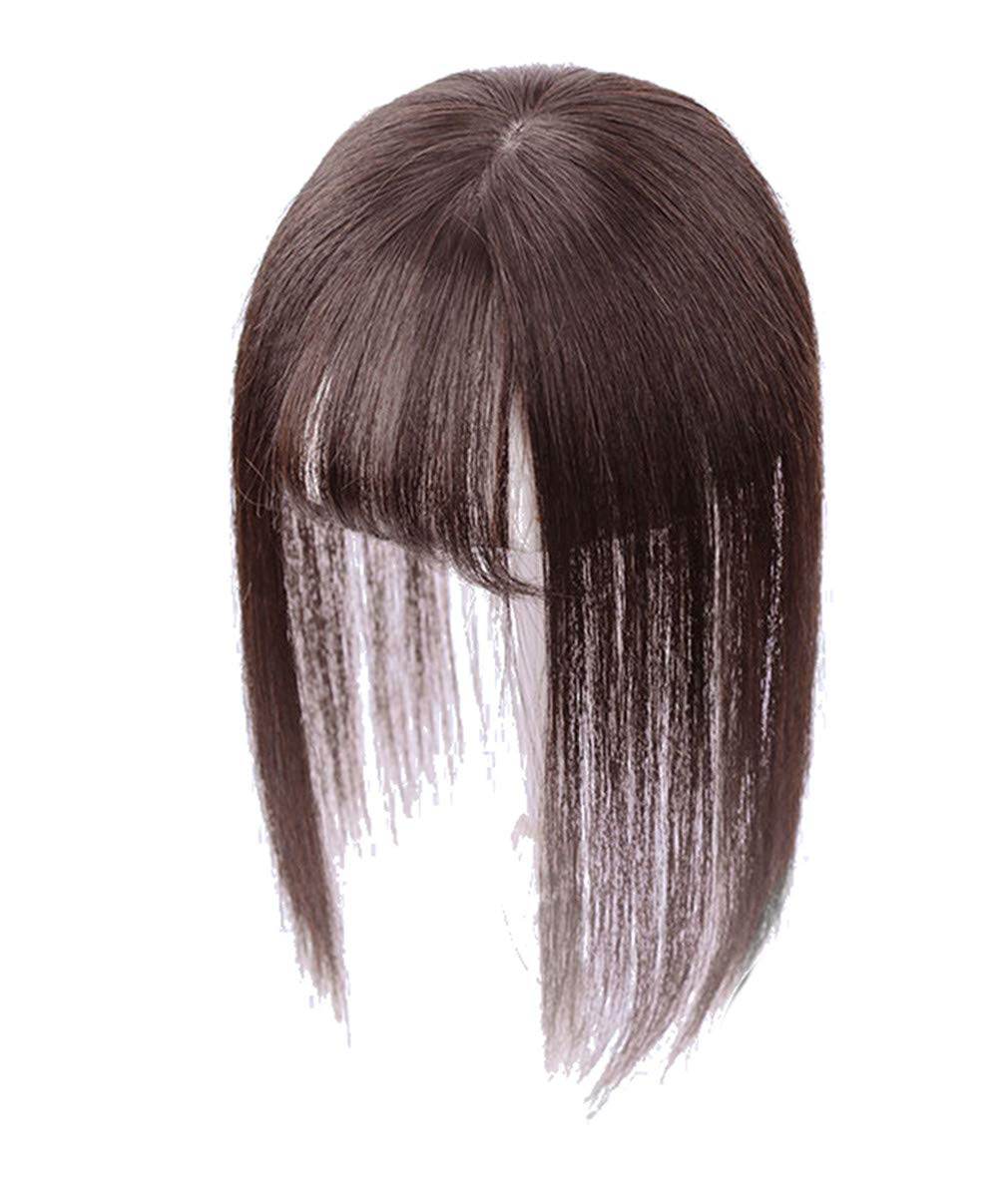 """3"""" x 4.3"""" Crown Topper Human Hair for Women with 3D Air Bangs, Clip in Hair Toppers for Thinning Hair 7"""