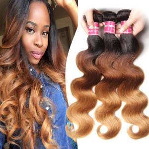 3 Tone Brazilian Ombre Body Wave Human Hair 3 Bundles Weave 1b/4/27 Color